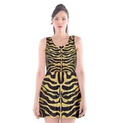 Skin2 Black Marble & Gold Brushed Metal Scoop Neck Skater Dress