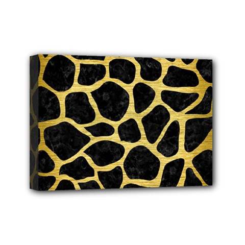 Skin1 Black Marble & Gold Brushed Metal (r) Mini Canvas 7  X 5  (stretched)