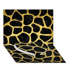 Skin1 Black Marble & Gold Brushed Metal (r) Heart Bottom 3d Greeting Card (7x5)