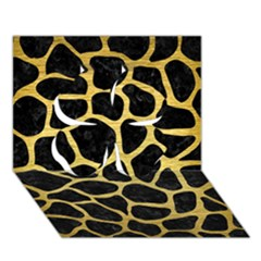 Skin1 Black Marble & Gold Brushed Metal (r) Clover 3d Greeting Card (7x5)