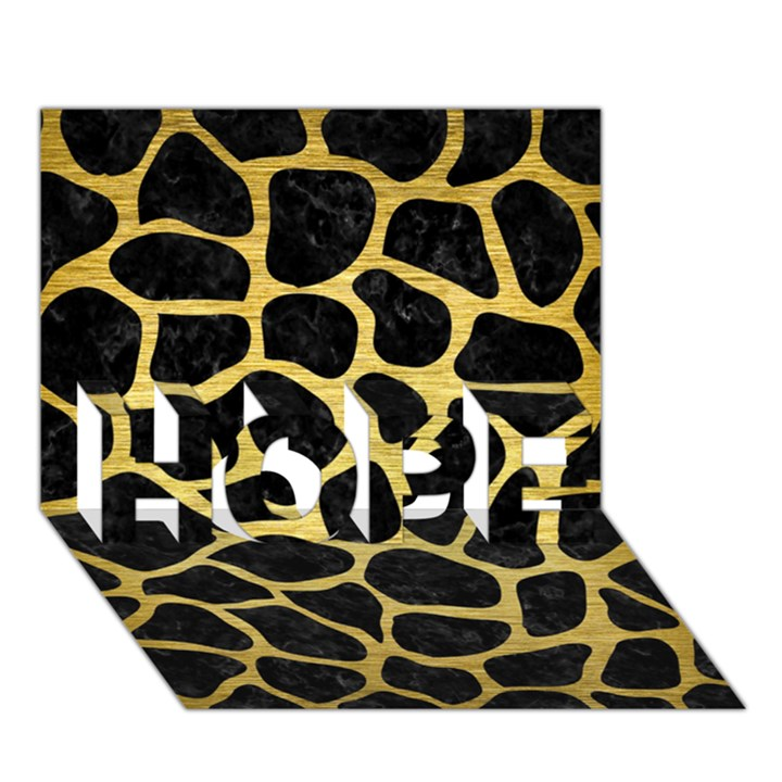 SKIN1 BLACK MARBLE & GOLD BRUSHED METAL (R) HOPE 3D Greeting Card (7x5)