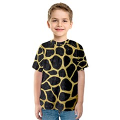 Skin1 Black Marble & Gold Brushed Metal (r) Kids  Sport Mesh Tee