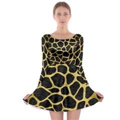 Skin1 Black Marble & Gold Brushed Metal (r) Long Sleeve Skater Dress