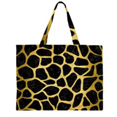 SKN1 BK MARBLE GOLD (R) Large Tote Bag