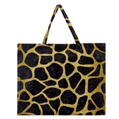 SKN1 BK MARBLE GOLD (R) Zipper Large Tote Bag