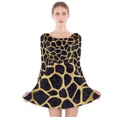 SKN1 BK MARBLE GOLD (R) Long Sleeve Velvet Skater Dress
