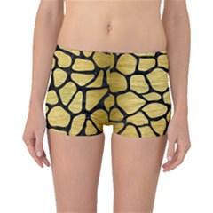 Skin1 Black Marble & Gold Brushed Metal Boyleg Bikini Bottoms