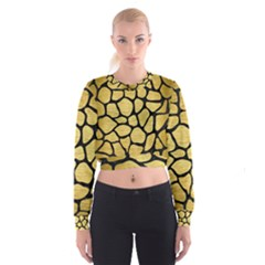 SKN1 BK MARBLE GOLD Women s Cropped Sweatshirt