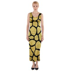 SKN1 BK MARBLE GOLD Fitted Maxi Dress