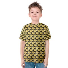 Scales3 Black Marble & Gold Brushed Metal (r) Kids  Cotton Tee