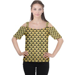 SCA3 BK MARBLE GOLD (R) Women s Cutout Shoulder Tee