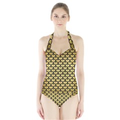 SCA3 BK MARBLE GOLD (R) Women s Halter One Piece Swimsuit