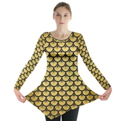Scales3 Black Marble & Gold Brushed Metal (r) Long Sleeve Tunic