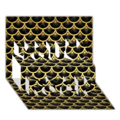 Scales3 Black Marble & Gold Brushed Metal You Rock 3d Greeting Card (7x5)