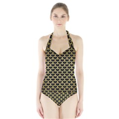 Scales3 Black Marble & Gold Brushed Metal Halter Swimsuit