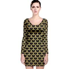 SCA3 BK MARBLE GOLD Long Sleeve Velvet Bodycon Dress