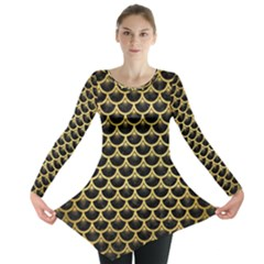 SCA3 BK MARBLE GOLD Long Sleeve Tunic