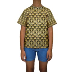 SCA2 BK MARBLE GOLD (R) Kid s Short Sleeve Swimwear