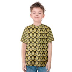 Scales2 Black Marble & Gold Brushed Metal (r) Kids  Cotton Tee