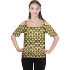 Scales2 Black Marble & Gold Brushed Metal (r) Cutout Shoulder Tee