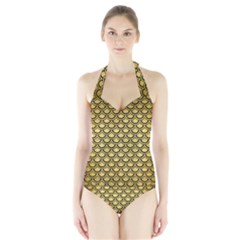 SCA2 BK MARBLE GOLD (R) Women s Halter One Piece Swimsuit