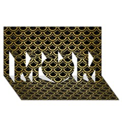 Scales2 Black Marble & Gold Brushed Metal Mom 3d Greeting Card (8x4)