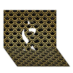 Scales2 Black Marble & Gold Brushed Metal Ribbon 3d Greeting Card (7x5)