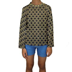 SCA2 BK MARBLE GOLD Kid s Long Sleeve Swimwear