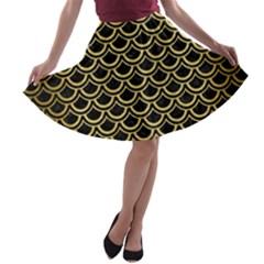 SCA2 BK MARBLE GOLD A-line Skater Skirt