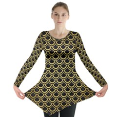 SCA2 BK MARBLE GOLD Long Sleeve Tunic