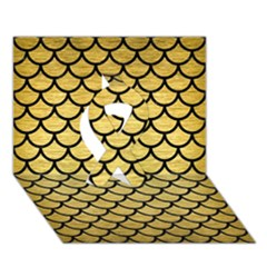 Scales1 Black Marble & Gold Brushed Metal (r) Ribbon 3d Greeting Card (7x5)