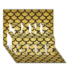 Scales1 Black Marble & Gold Brushed Metal (r) Take Care 3d Greeting Card (7x5)