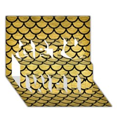 Scales1 Black Marble & Gold Brushed Metal (r) Get Well 3d Greeting Card (7x5)