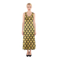 SCA1 BK MARBLE GOLD (R) Full Print Maxi Dress