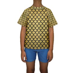 SCA1 BK MARBLE GOLD (R) Kid s Short Sleeve Swimwear