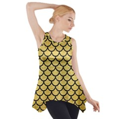 Scales1 Black Marble & Gold Brushed Metal (r) Side Drop Tank Tunic
