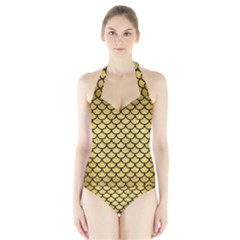 SCA1 BK MARBLE GOLD (R) Women s Halter One Piece Swimsuit