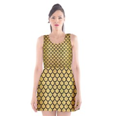 SCA1 BK MARBLE GOLD (R) Scoop Neck Skater Dress