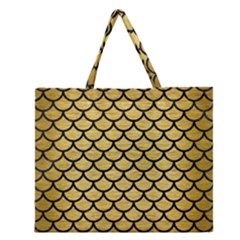 SCA1 BK MARBLE GOLD (R) Zipper Large Tote Bag