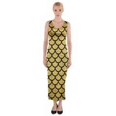 SCA1 BK MARBLE GOLD (R) Fitted Maxi Dress