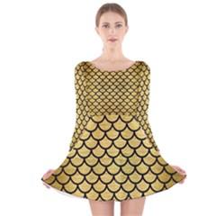 SCA1 BK MARBLE GOLD (R) Long Sleeve Velvet Skater Dress