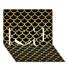 Scales1 Black Marble & Gold Brushed Metal I Love You 3d Greeting Card (7x5)