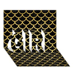 Scales1 Black Marble & Gold Brushed Metal Girl 3d Greeting Card (7x5)