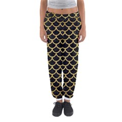 Scales1 Black Marble & Gold Brushed Metal Women s Jogger Sweatpants