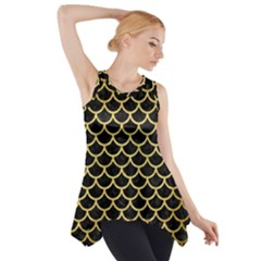 SCA1 BK MARBLE GOLD Side Drop Tank Tunic
