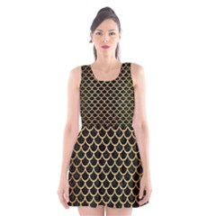 Scales1 Black Marble & Gold Brushed Metal Scoop Neck Skater Dress