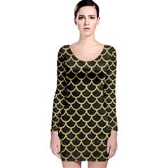 SCA1 BK MARBLE GOLD Long Sleeve Velvet Bodycon Dress