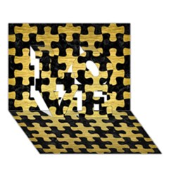 Puzzle1 Black Marble & Gold Brushed Metal Love 3d Greeting Card (7x5)