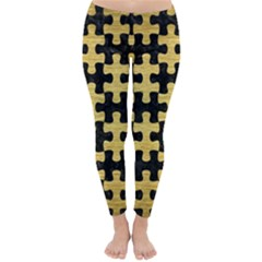 Puzzle1 Black Marble & Gold Brushed Metal Classic Winter Leggings