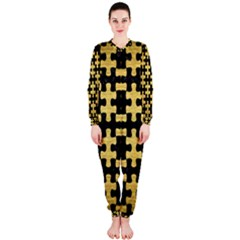 Puzzle1 Black Marble & Gold Brushed Metal Onepiece Jumpsuit (ladies)